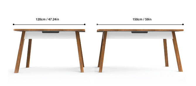 StudioDesk XL width is 150cm/59in and 120cm/47.24in for StudioDesk