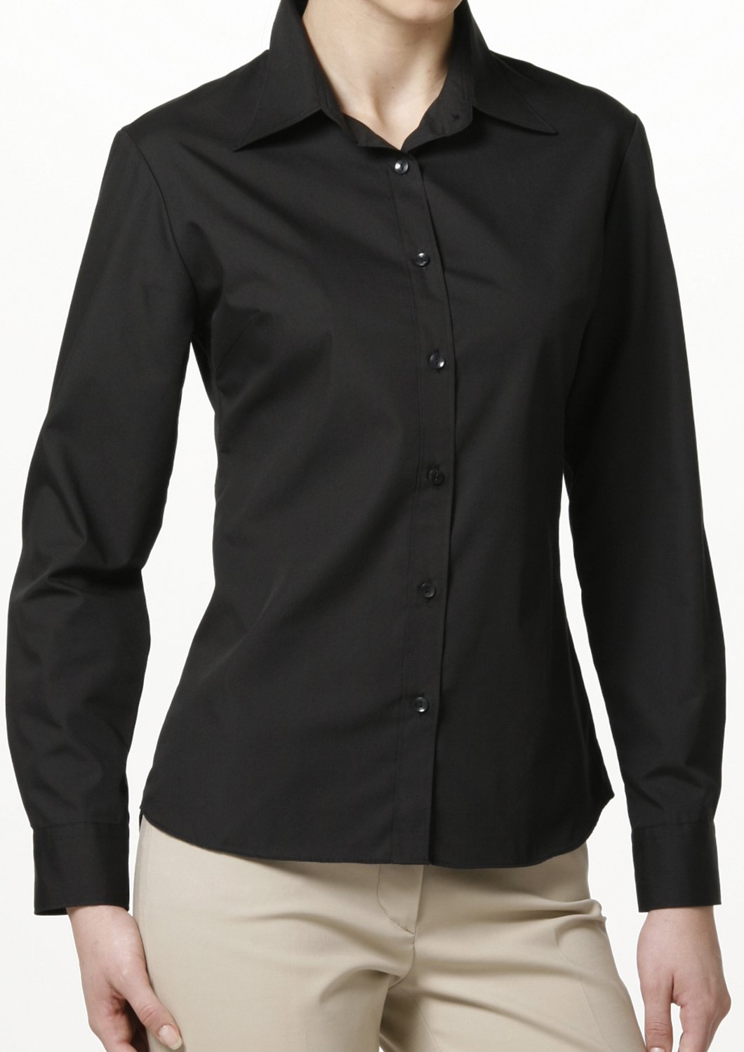 Easy Care Poplin Long Sleeve Shirt Black - LEONIS SHIRTS & FAVORITES