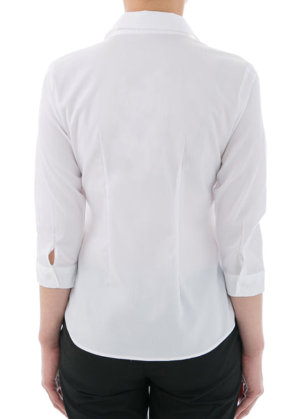 Super Stretch Easy Care Poplin 3/4 Sleeve Shirt White - LEONIS SHIRTS & FAVORITES