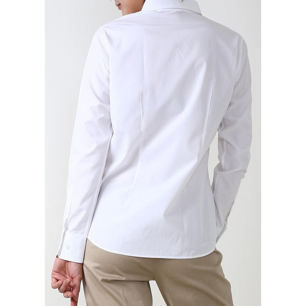 Premium Stretch & Easy Care Poplin Long Sleeve Shirt White - LEONIS SHIRTS & FAVORITES