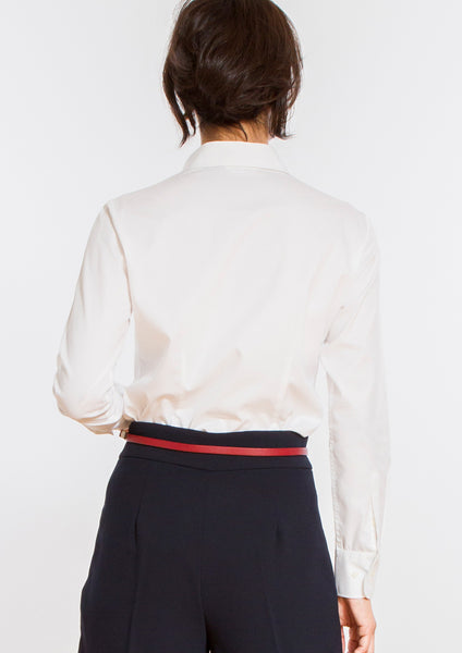 Premium Stretch Easy Care Gathered Placket Long Sleeve Shirt White - LEONIS SHIRTS & FAVORITES