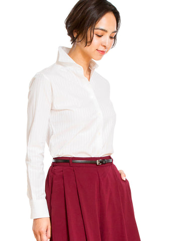 Premium Stretch Easy Care Cutaway Long Sleeve Shirt Stripe White - LEONIS SHIRTS & FAVORITES