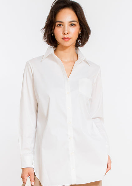 Premium Stretch Easy Care Relaxed Long Sleeve Shirt White - LEONIS SHIRTS & FAVORITES