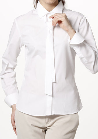 Easy Care Poplin Long Sleeve Shirt Tie Neck White - LEONIS SHIRTS & FAVORITES