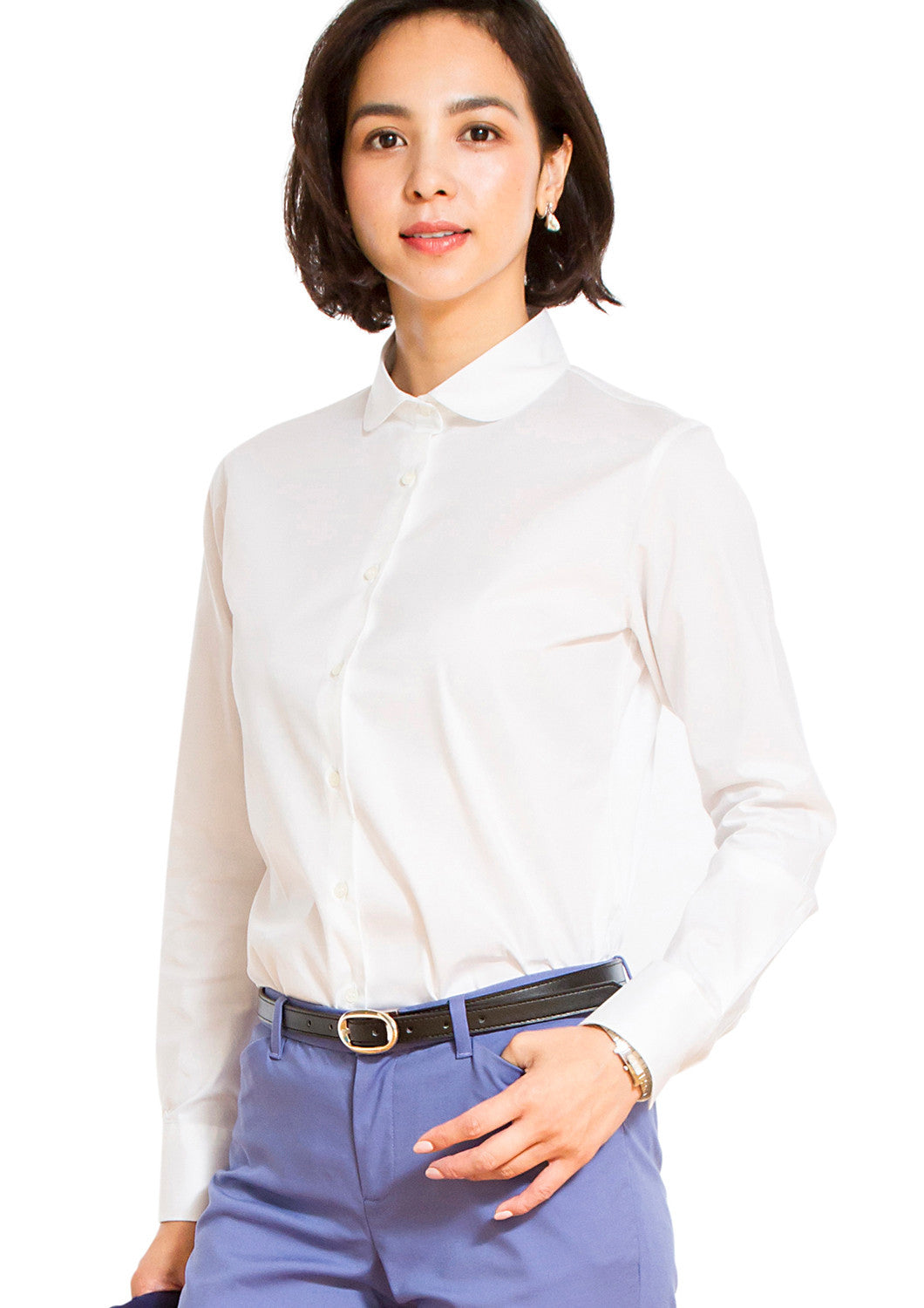 Premium Stretch Easy Care Rounded Point Collar Long Sleeve Shirt White - LEONIS SHIRTS & FAVORITES
