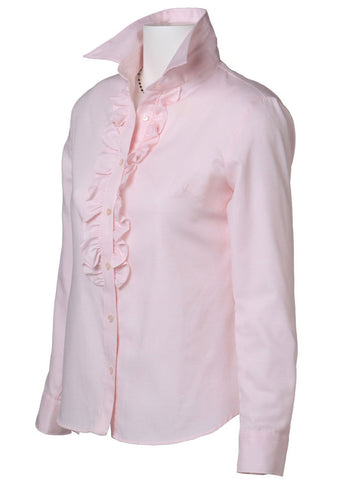 Easy Care Dobby Ruffle Long Sleeve Shirt Pink - LEONIS SHIRTS & FAVORITES