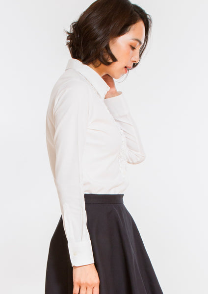 Premium Stretch Easy Care Ruffle Long Sleeve Shirt White - LEONIS SHIRTS & FAVORITES