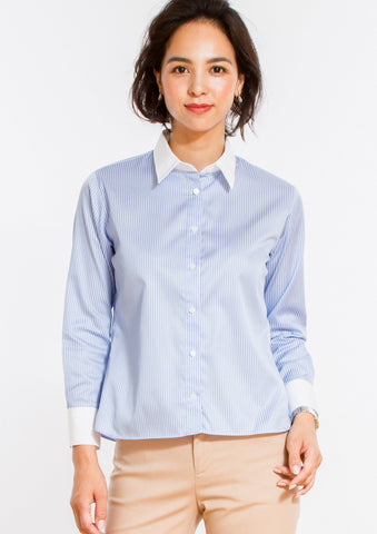 Non Iron Bracelet-Length Sleeve Untucked Shirt Stripe Blue - LEONIS SHIRTS & FAVORITES