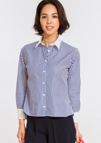 Non Iron Bracelet-Length Sleeve Untucked Shirt Stripe Navy - LEONIS SHIRTS & FAVORITES