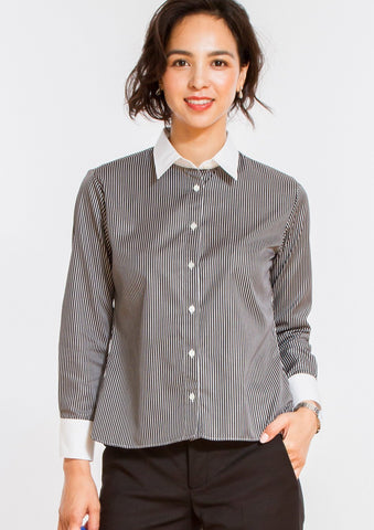 Non Iron Bracelet-Length Sleeve Untucked Shirt Stripe Black - LEONIS SHIRTS & FAVORITES