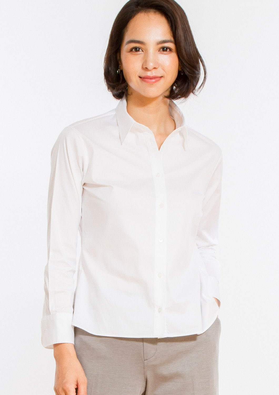 Premium Stretch & Easy Care Untucked White Twill Shirt - LEONIS SHIRTS & FAVORITES