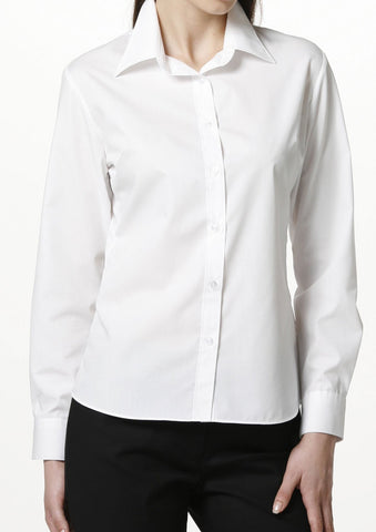 Easy Care Poplin Long Sleeve Shirt White - LEONIS SHIRTS & FAVORITES