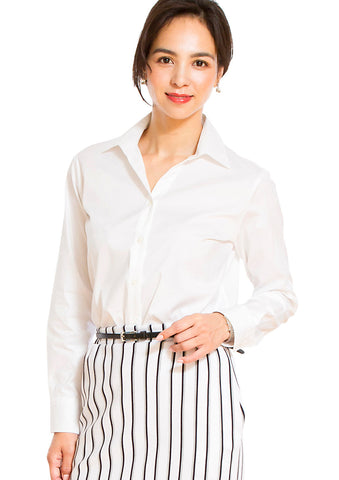 Premium Stretch Easy Care Extended Neckline Long Sleeve Shirt White - LEONIS SHIRTS & FAVORITES
