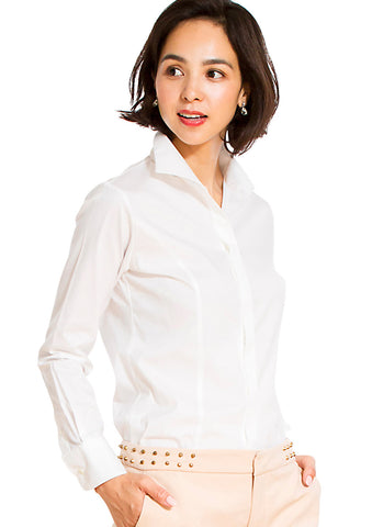 Premium Stretch Easy Care Stand Collar Long Sleeve Shirt - LEONIS SHIRTS & FAVORITES