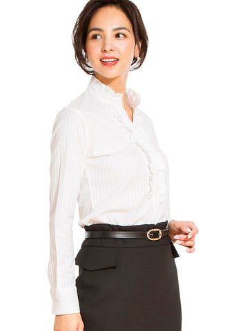 Premium Stretch Easy Care Ruffled Stand Collar Long Sleeve Shirt Stripe White - LEONIS SHIRTS & FAVORITES