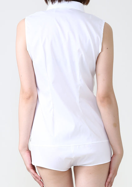 Premium Stretch Easy Care Sleeveless Bodysuit Shirt White - LEONIS SHIRTS & FAVORITES