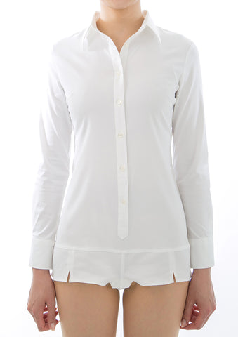 Premium Stretch Easy Care Long Sleeve Bodysuit Shirt White - LEONIS SHIRTS & FAVORITES