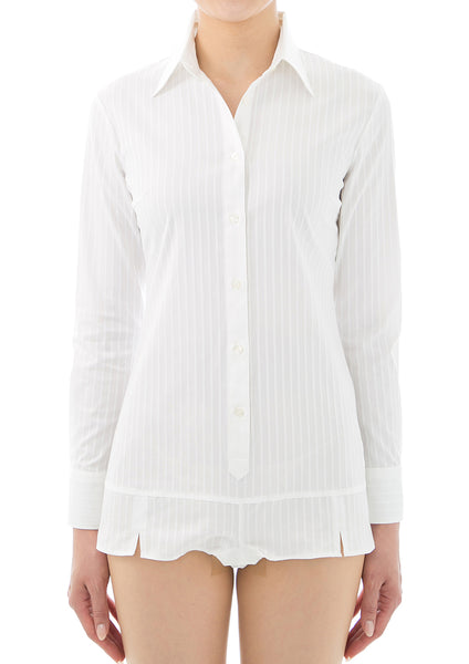 Premium Stretch Easy Care Long Sleeve Bodysuit Shirt White Stripe - LEONIS SHIRTS & FAVORITES