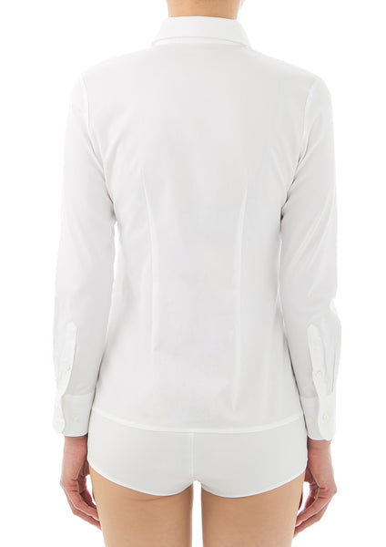 Premium Stretch Easy Care Long Sleeve Bodysuit Shirt White Frill - LEONIS SHIRTS & FAVORITES