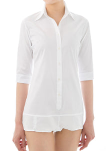 Premium Stretch Easy Care 1/2 Sleeve Bodysuit Shirt White - LEONIS SHIRTS & FAVORITES