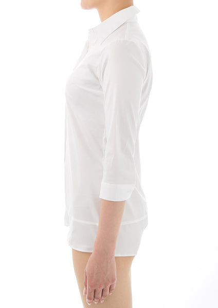 Premium Stretch Easy Care 3/4 Sleeve Bodysuit Shirt White - LEONIS SHIRTS & FAVORITES