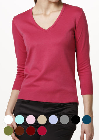 Washable Lightweight V-neck Top 3/4 Sleeve - LEONIS SHIRTS & FAVORITES