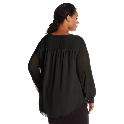 Calvin Klein Women's Plus Size Modern Essential Ruffle Front Blouse