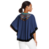NY Collection Women's Elbow Length Scoop Neck Poncho with Crochet At Back