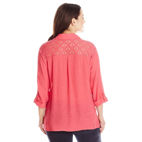 Sag Harbor Women's Plus Size Crochet Yoke Shirt