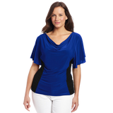 Star Vixen Women's Plus Size Flutter Sleeve Colorblock Top