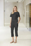 Clove Black Linen Rich Capris - Fashionizer Spa