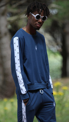 Navy Overprint Panel Sweatshirt