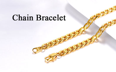 18k gold plated link chain bracelet u7 jewelry