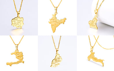 gold plated map pendant necklace