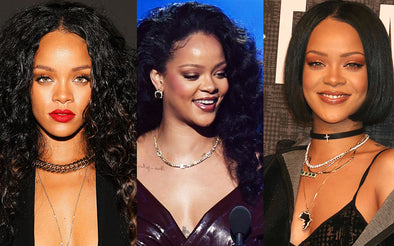 popular singer and fashion icon Rihanna wear chain necklace and choker
