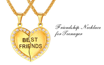 18k gold plated heart shaped friendship necklace