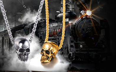 steam punk skull design chain necklace