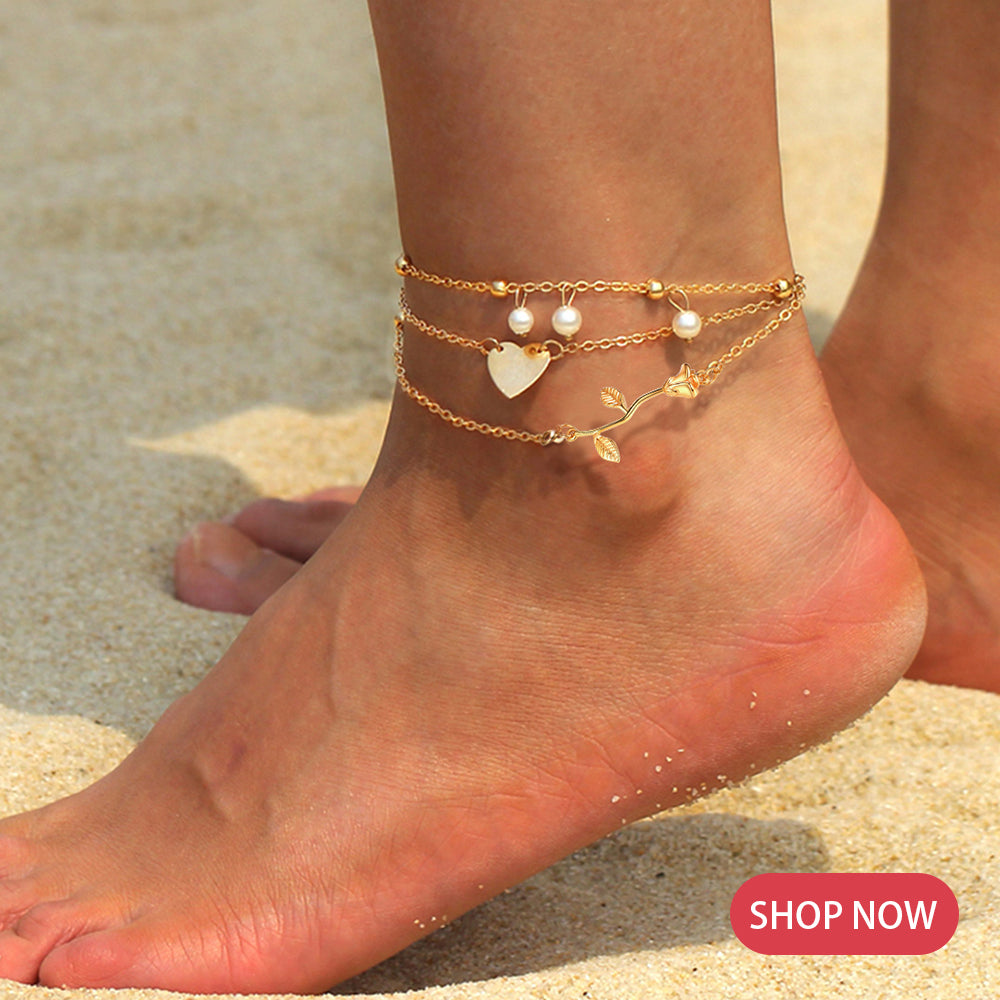 Yellow Rose Flower Charm Anklet