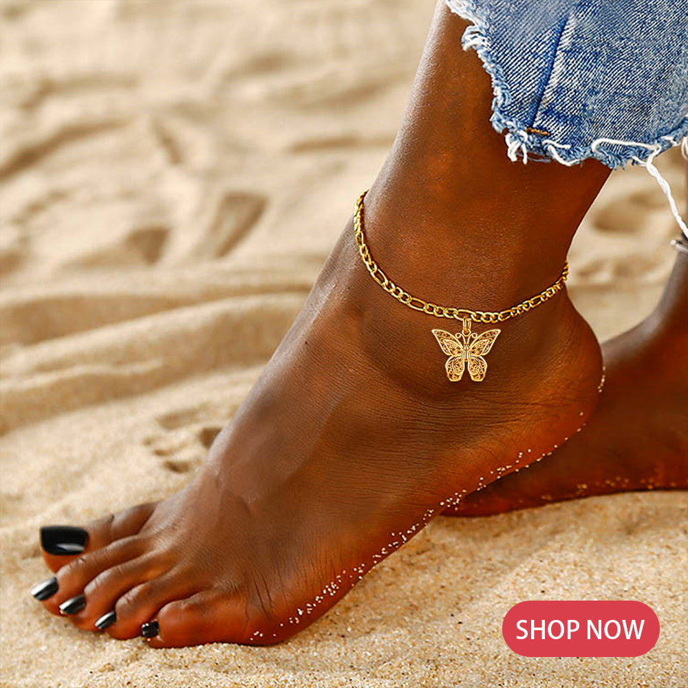 Butterfly Charm Figaro Chain Anklet