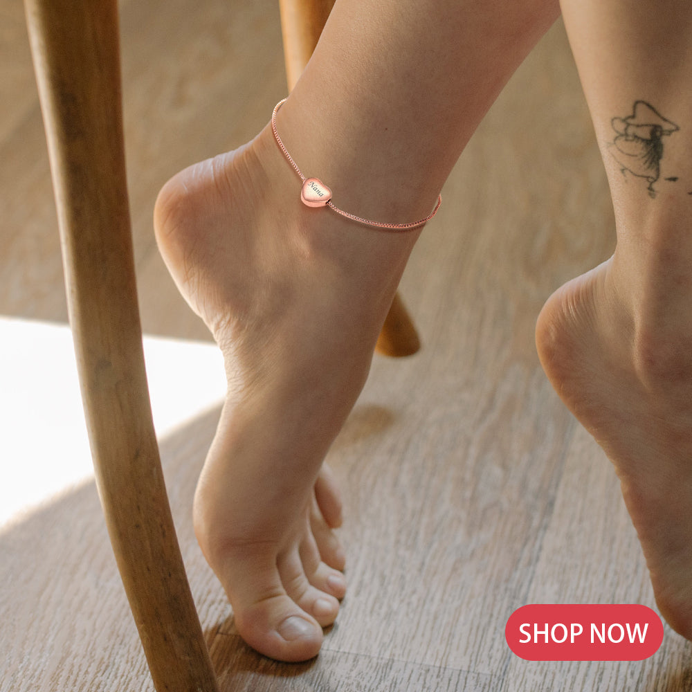 Dainty Heart Charm Anklet