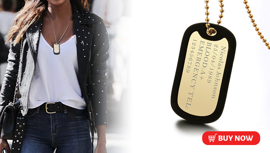 Military Dog Tag Free Engraved ID Nameplate Necklace For Men