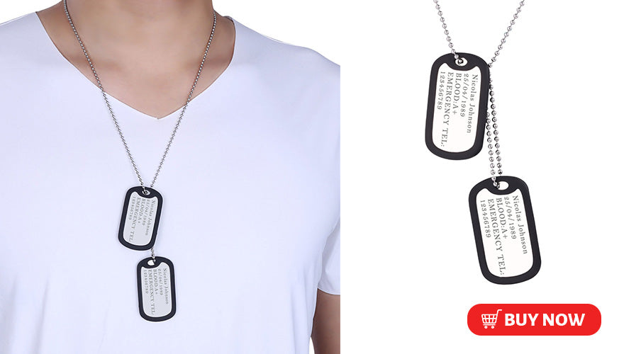 Personalized Engraved Military Dog Tags Necklace for Men and Women