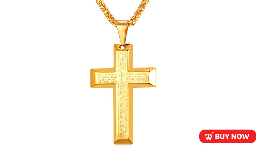 Engravable Bible Cross Necklace Custom Christian Church Jewelry (3 Available Colors)