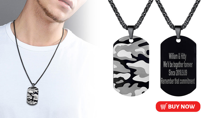 Free Engraved Custom Military Camouflage Camo Dog Tag Necklace Black