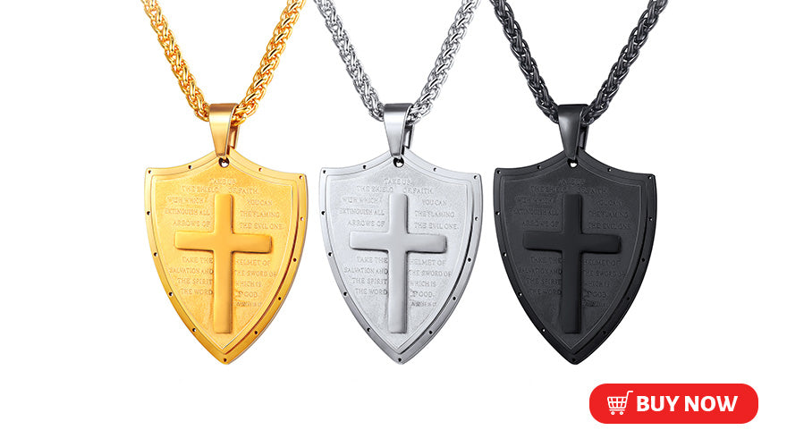 Customizable Shield of Faith Necklace with Cross and Bible Verse (3 Available Colors)