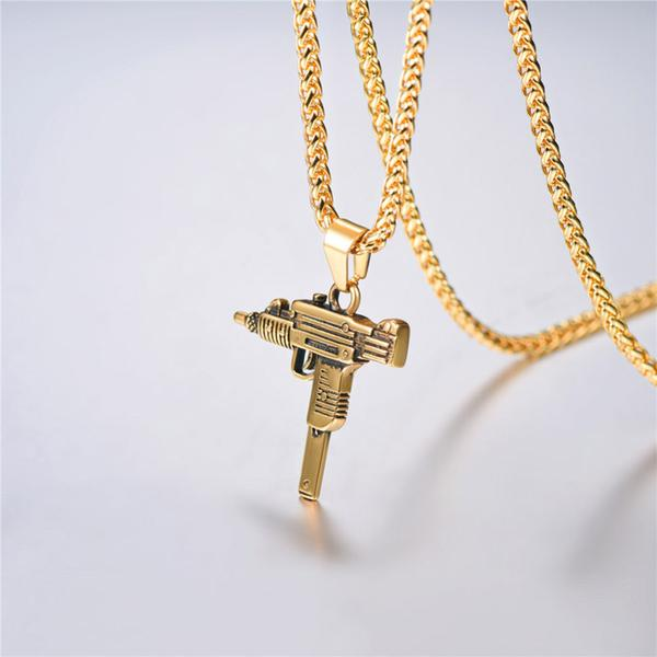 18k gold plated uzi pendent necklace