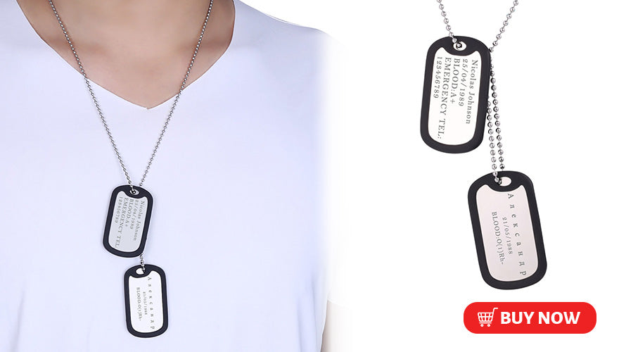 Engraved Custom Double Dog Tag Necklace with Picture
