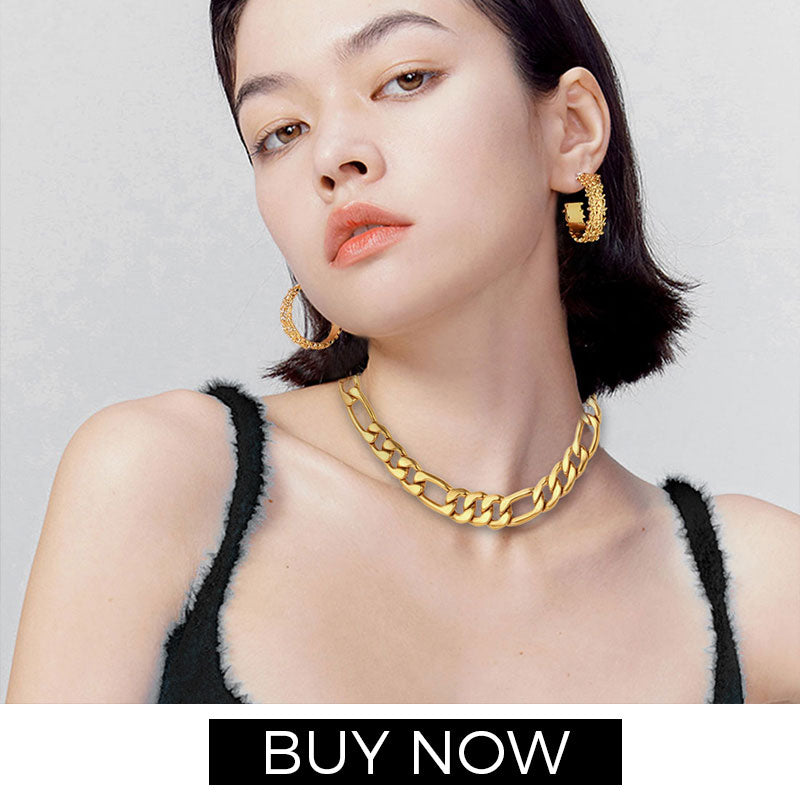Women Men Figaro Gold Chain Necklace 18K Gold Plated