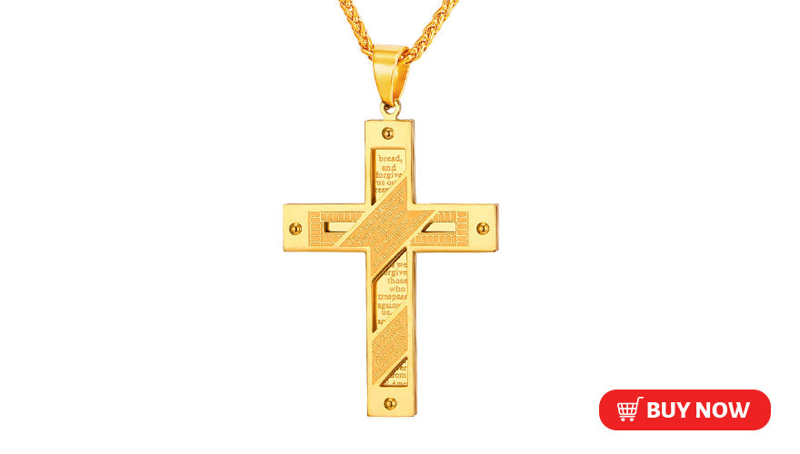 Personalized Engraved Bible Cross Pendant Necklace Lord's Prayer Jewelry for Christians (2 Available Colors)