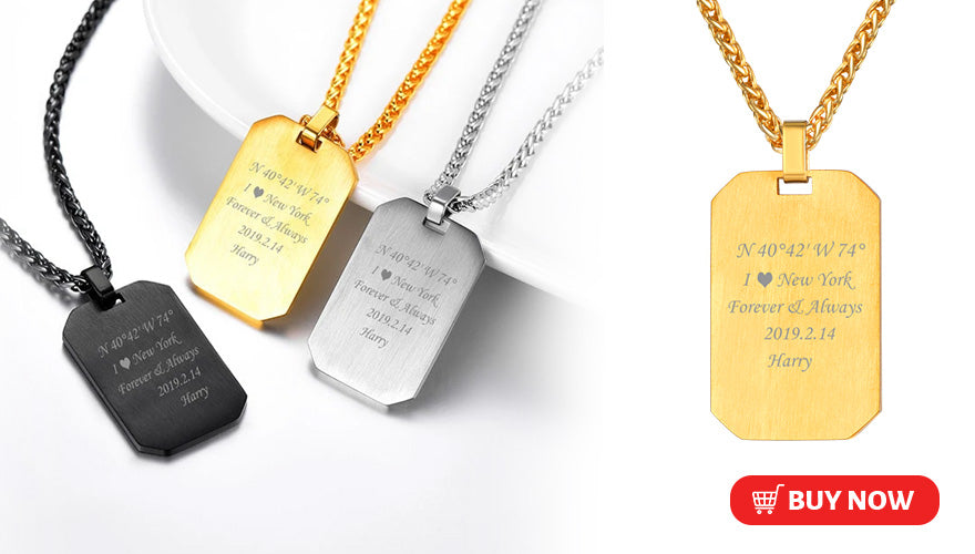 Engraved Military Dog Tag Necklace For Men